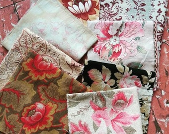 Patchwork - Sewing lot - French Antique Fabrics - Lot of 8