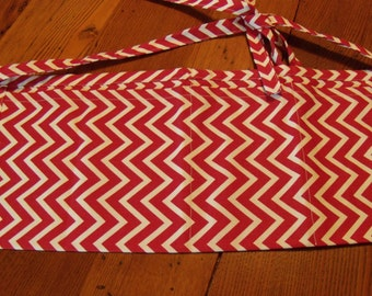 Red and White Zig Zag Event Apron. Vendor's Apron. Nail Apron. Teacher's Apron. Waitress Apron. Canvas.
