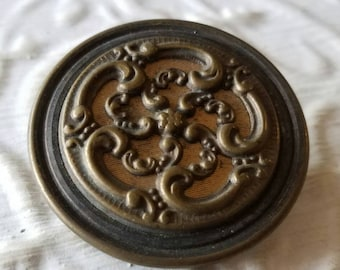 Vintage Button-1 extra large floral design molded metal, Victorian, bronze and pewter design (feb  402 17)