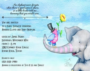 Elephant Never Forgets Baby Shower Invitation