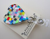 Decorative Retractable Reel Badge Reel ID Holder Quilted Mosaic Heart  alligator or belt clip