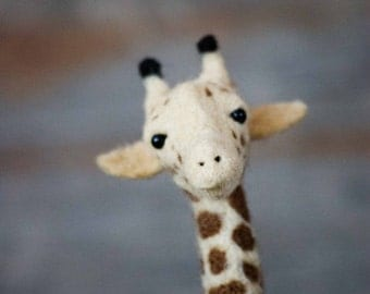 Felt Giraffe Sculpture - Needle Felted Giraffe - Needle Felted Animal - Soft Sculpture - Felt Animal -  Wool - Giraffe Decor - African Décor