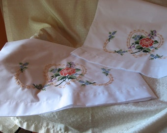 Pair of Vintage Cross Stitch Pillow Cases