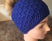 Teen... adult messy bun hat.. ponytail hat.. blue shells... ready to ship