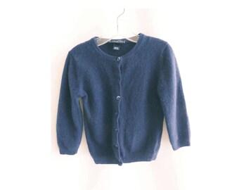 Vintage Cashmere Sweater Size 5Y Navy Blue Cardigan Girls Oscar De La Renta