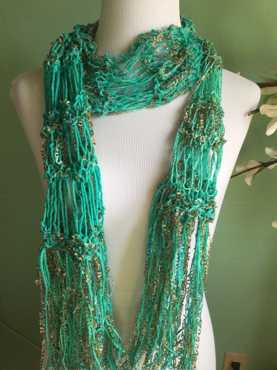 Hand Knit Fashion Accessory Ladies Green and Ribbon Shimmer Scarf