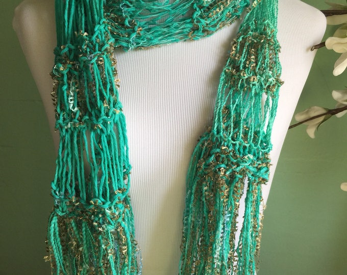 Featured listing image: Hand Knit Fashion Accessory Ladies Green and Ribbon Shimmer Scarf