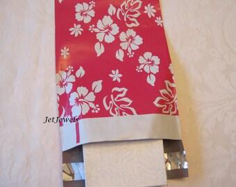 50 Shipping Envelopes, Hot Pink Mailers, Pink Mailing Envelopes, Plastic Mail Bags, Poly Mailers, Shipping Bags, Hawaiian Print 6x9