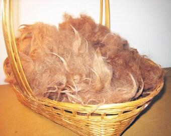 Fawn Alpaca Fiber, 6-ounces Washed, MissTaffeta My Farm Fibers, Approx. 4-inch Staple, Natural Luster, Open Style Fleece, Soft, Spin Felt