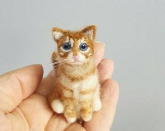 Needle felted orange tabby cat ornament, Custom pet portrait, Cat memorial, Cat lover gift