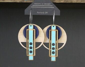 Laser cut earring | WRIGHT: Blue