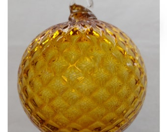 Gold Diamond Facet Blown Glass Ornament 3.5 inches FREE SHIPPING