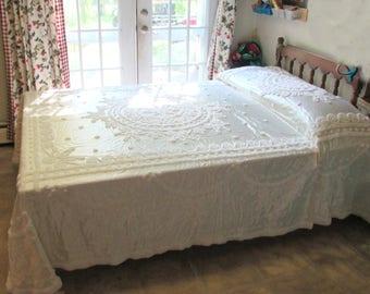 MCM Full/Queen Everwear Satin Chenille bedspread White Vintage EUC madame pompadour