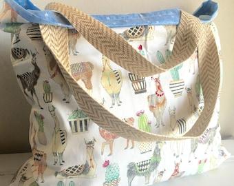 Llama, llama bag, llama diaper bag, diaper bag, reversible bag, tote, beach tote, large tote, diaper tote, custom tote, extra large tote