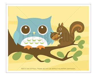 74A Owl Nursery Print - Squirrel and Owl Wall Art - Owl Print - Squirrel Print - Nature Wall Art - Woodland Nursery Decor - Art for Kids