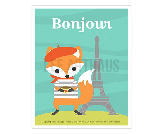 26T Cute Fox Print - Bonjour - Fox in Paris Wall Art - Fox Home Decor - Fox Nursery Wall Art - Eiffel Tower Print - Cute Fox Art Prints