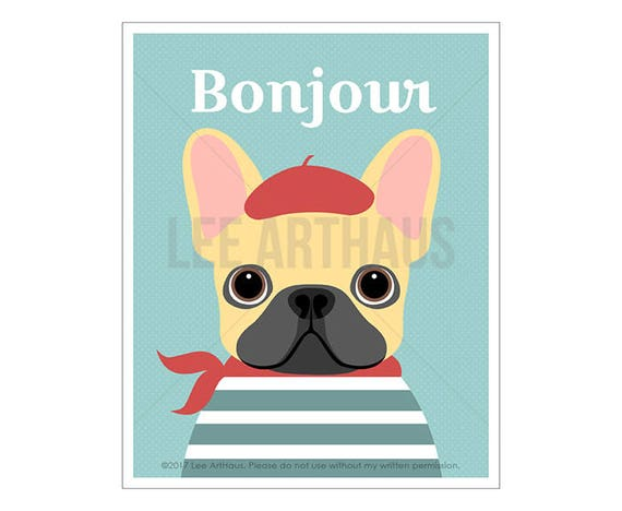 32D Dog Art Print - Bonjour - Red Beret French Bulldog Wall Art - Modern Dog Art - Cream French Bulldog Print - Tan French Bulldog Drawing