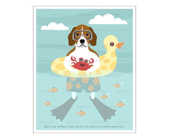 272D Beagle Art Print - Beagle in Inflatable Ducky Wall Art - Kids Bath Decor - Beagle Drawing- Cute Dog Art - Beach Wall Art - Dog Print