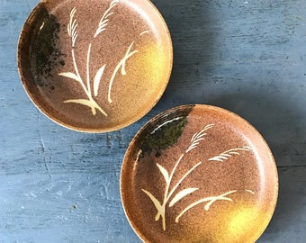 handmade studio pottery plates - shallow ceramic bowl - wheatgrass - brown yellow - Set of 2