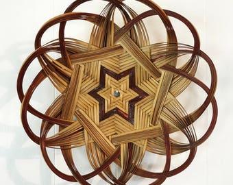 woven bamboo wall basket - red star basket - round shallow basket - boho decor