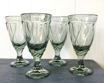 vintage green glasses - Noritake Sweet Swirl wine water goblets - pastel stemware