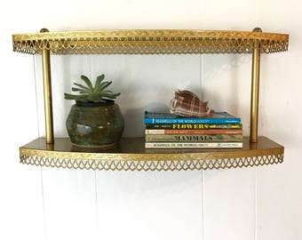 vintage wall shelf - mid century gold metal - bathroom kitchen - plant display