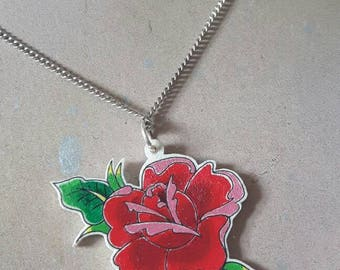 Hand painted rose on plastic pendant with chain necklace