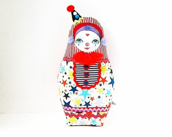 Clown Art Doll, Circus Clown Doll, Clown Cloth Doll, Pierrot Art Doll, Collectable Doll, Cloth Doll Violetta, Little Clown Ornament