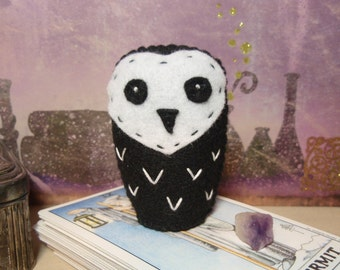 Goth Owlie Chick - Black and White Felt Mini Owl