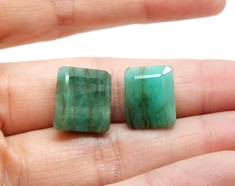 2 Natural Opaque Emerald Faceted Briolettes Approximately 10x14mm rectangles Top Drilled Sideways