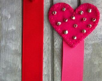 Heart Bookmarks, Wool felt bookmarks, Valentine's days bookmarks, hearts, bookmarks, red hearts, red heart bookmarks, pink hearts