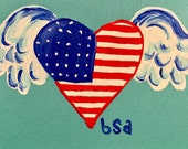 American Heart Fly Away Hand Painted Notecard