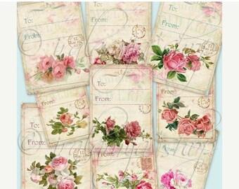 SALE FLORAL TAGS collage Digital Images  -printable download file Digital Collage Sheet Vintage Paper Scrapbook