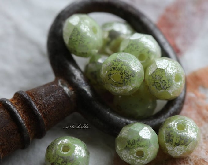 SILVERED APPLES .. NEW 10 Picasso Czech Rondelle Glass Beads 5x7mm (5742-10)