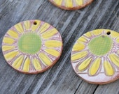 Pottery Pendant Bead with Flower in Yellow and Green