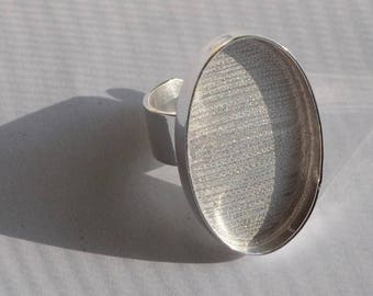 Sterling Silver Plated Deep Welled Adjustable Oval Ring 20x30mm 5mm deep blank