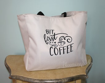But First Coffee Tote Bag, Large Market Tote, Christmas Gift under 20 Dollars