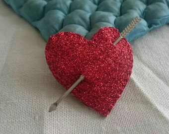 Red Glitter & Leather Heart and Cupid Arrow Brooch