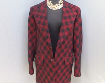 Vintage 70s MENS Polyester Textured Jacket, Red and Black Textured Print, Polyester Jacket, 42 Chest