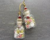 Mini Bottle Earrings Christmas Bottle Earrings Peppermint Stripe and Snowflake Bottle Earrings Small Jar Earrings SRAJD