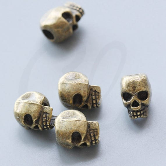 10pcs Antique Brass Tone Base Metal Spacers-Skull 14x9mm with hole size 4mm (4012X-G-254)