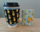 Pineapple coffee cozy and tea wallet