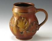 Bruegel-esque White Stoneware Mug Oak Leaf Pattern, Red Gold Glaze