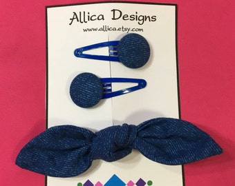 Hair Bow and Clip Set - Blue Denim-Look
