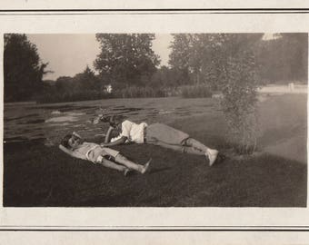 Original Vintage Photograph Snapshot Boys Teen Laying on Grass by Pond 1920s