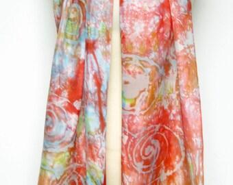 Silk Scarf Handpainted batik art coral spiral sky