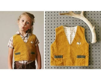 SPRING SALE 1940s Mustard Carousell Vest~Size 2t/3t