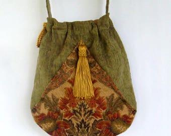 Green  Floral Tapestry Bag Tassel  Pocket Boho Bag  Tapestry  Drawstring Bag   Bohemian Bag  Crossbody Purse