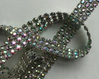 PRINCESS Rhinestone Banding, Trim / AB  Iridescent / 3 rows , 1 yard / LAURA