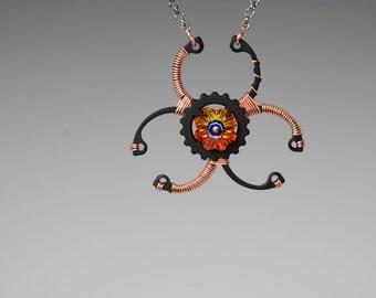 Swarovski Crystal Biohazard Pendant, Steampunk Jewelry, Swarovski Necklace, Volcano Crystal, Copper Wire, Colorful Jewelry, Caution v4